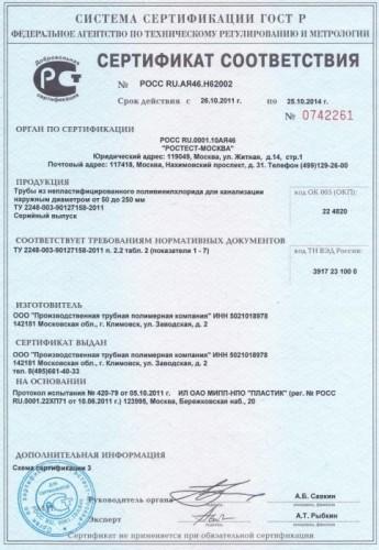 сертификат соответствия труба пвх