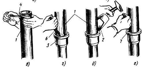 соединение канализационных чугунных труб