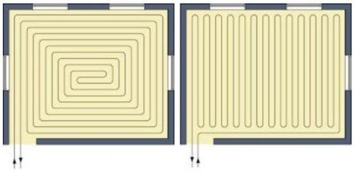трубы отопления в стяжке пола схема