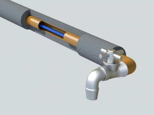 саморегулирующийся нагревательный кабель внутри трубы