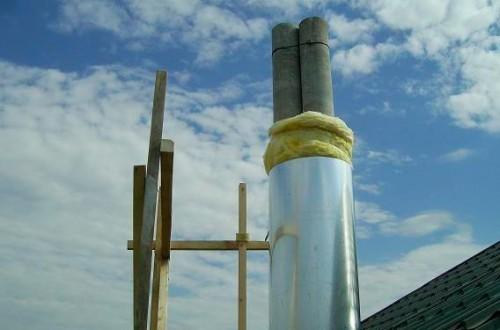 утепление дымоходных труб асбестовой