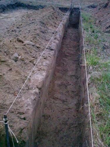 Подготовленная траншея для укладки водопроводных труб