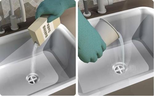 чистка труб содой