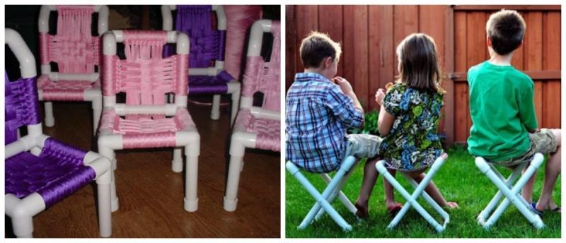 Детский стульчик из пластиковых труб своими руками
