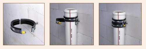 Процесс крепления шумопоглощающими хомутами: изделие должно полностью охватывать трубу
