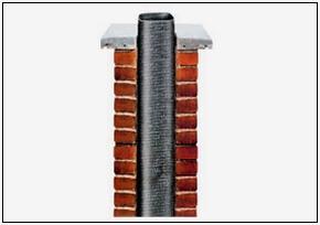 Полимерный дымоход, декорированный кирпичной кладкой