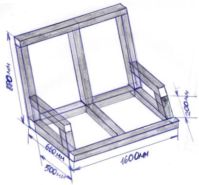 Схема строительства сиденья