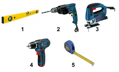 Необходимые инструменты: 1 - строительный уровень; 2 - дрель; 3 – лобзик; 4 – шуруповерт; 5 - рулетка