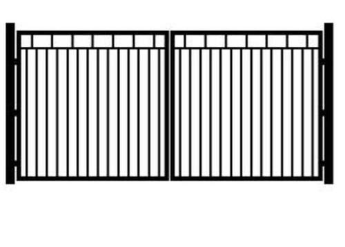 Распашные ворота, изготовленные из профильной трубы