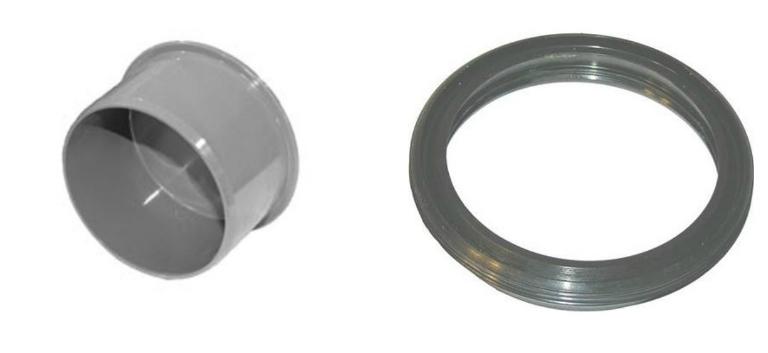 Фитинг, который устанавливается в раструб (слева), и уплотнительное кольцо, придающее стыку трубопровода большую прочность (справа)
