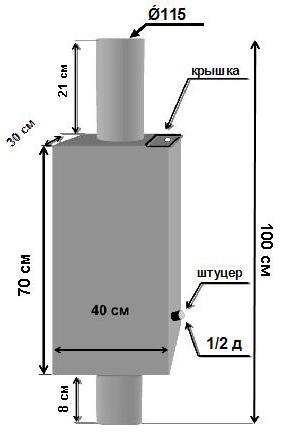Схема установки бака объемом 80 л