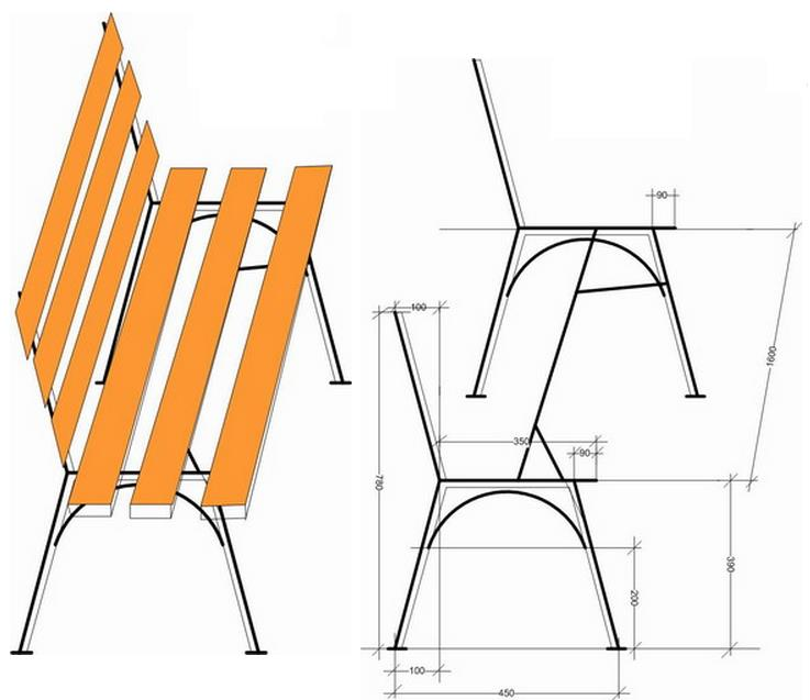 Скамейка своими руками из металла и дерева фото чертежи 64