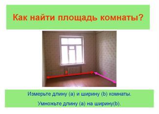 Параметры для расчета площади помещения