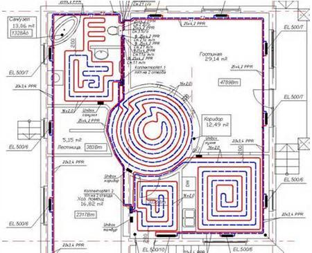 Схема прокладки труб пола, составленная по заданным параметрам