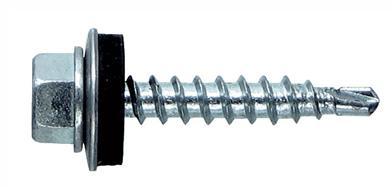 Саморез, дополненный резиновой прокладкой для герметизации