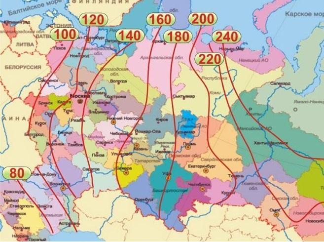 Определить глубину промерзания грунта в вашем регионе можно по представленной карте