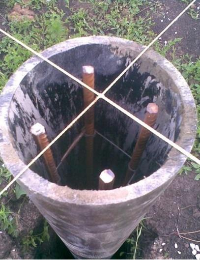 Готовая к заливке бетона труба под сваю должна выглядеть примерно так