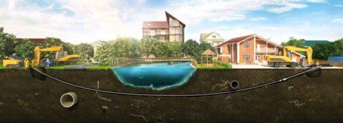 Прокладка трубопровода под естественным водоемом