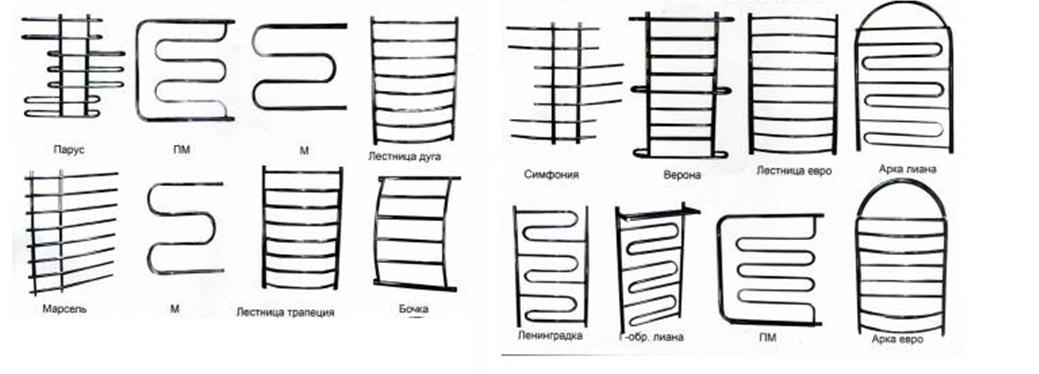 Разнообразие форм сушилок для полотенец