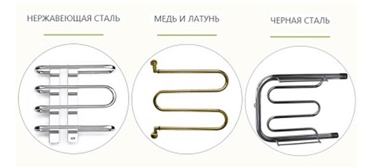 Полотенцесушители, изготовленные из разных материалов