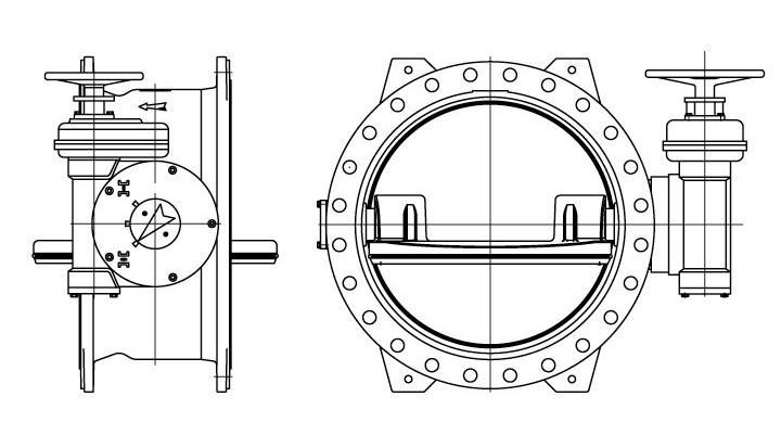 Затвор со смещенной осью вращения запорного диска