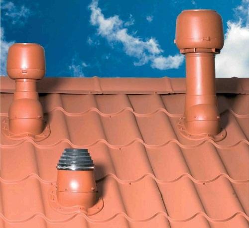 Вариант установки вентиляционной трубы при помощи готовых элементов