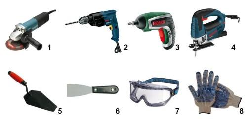 Набор необходимых строительных инструментов:
