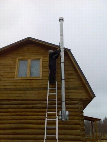 Крепление дымохода к наружной части дома