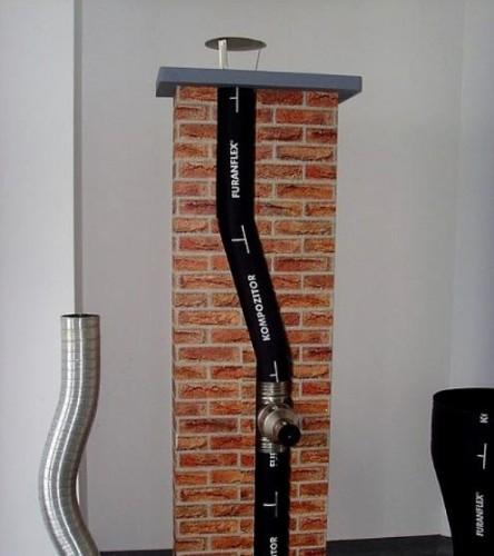 Комбинированный из полимера и кирпича дымоход