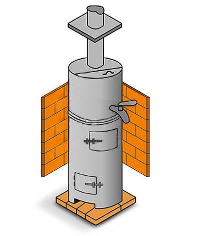 Простейшая вертикальная печь, дополнительно оснащенная баком для нагрева воды