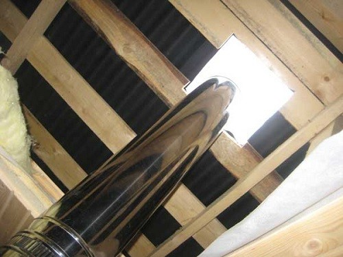Вывод дымохода через крышу