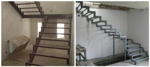 Из труб обычно изготавливают лестницы с косоурами (слева) или же без опор – «парящий» вариант (справа)