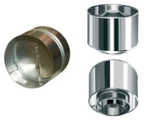 Обратный клапан для дымоходного дефлектора (слева) и дефлектор со встроенным обратным клапаном (справа)