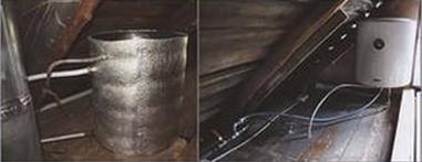 Бак с подводкой воды, установленный на чердаке