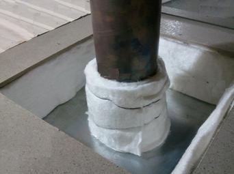 Фиксация утеплительного материала к дымовой трубе