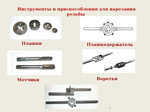 Набор инструментов для нарезания внешней и внутренней резьбы