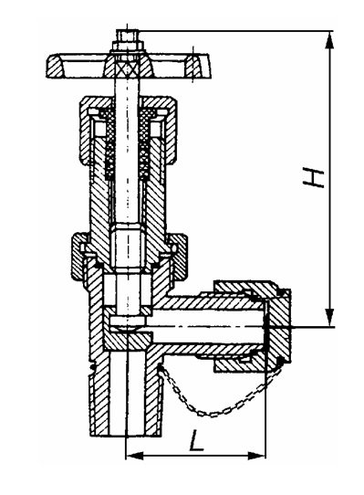 Устройство углового вентиля клапанного типа