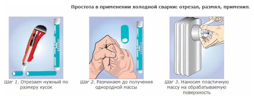 Способ использования холодной сварки для устранения трещины
