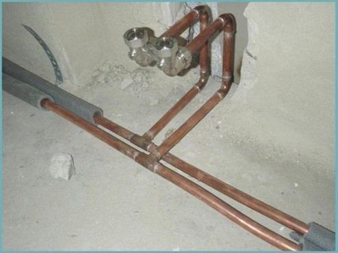 Сборка трубопровода из труб, изготовленных из меди