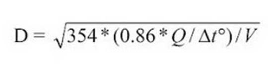 Расчет диаметра отопительного трубопровода