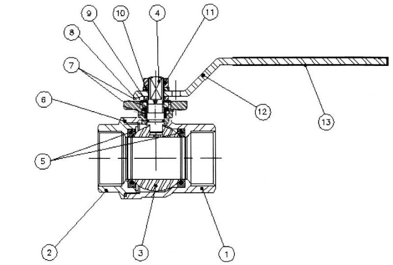 Схема конструкции шарового полнопроходного крана