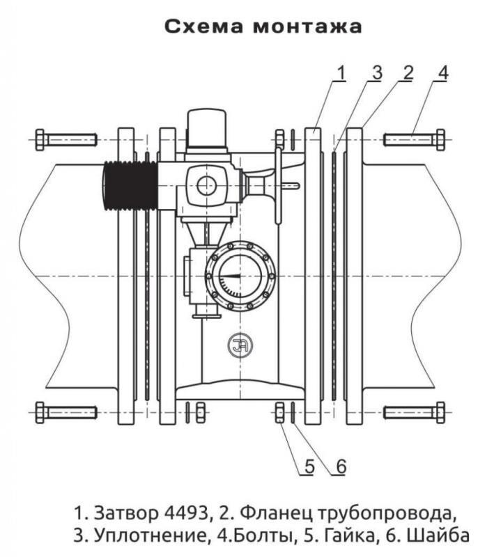 Схема крепления арматуры фланцевым методом